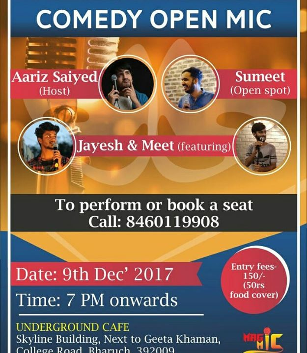 I am hosting this comedy open mic in Bharuch tonight, AAJAO!  #bharuch #openmic