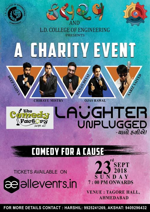 Hello friends in Ahmedabad, we are performing stand up comedy to raise funds in this charity event, come to watch me live on 23rd September and also to support the cause:)  #ahmedabad #amdavad