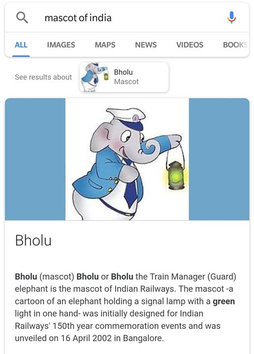 Googled mascot of India, wasn't disappointed.   Wait what.