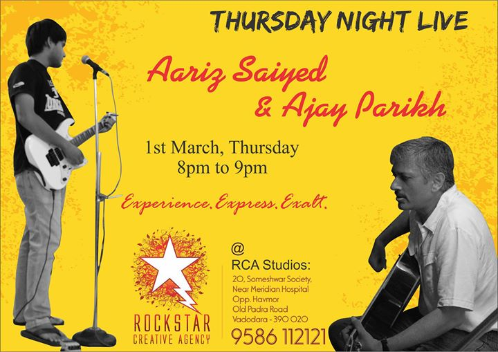 Live Acoustic performance at RCA Music Studios this Thursday 1st march 8pm to 9pm, Be there! :)