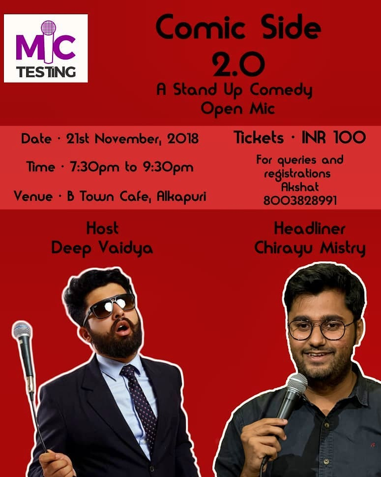 In Vadodara tonight. 7:30 pm at B town cafe Alkapuri, come down for some weekday chuckles :D  #vadodara  #openmic